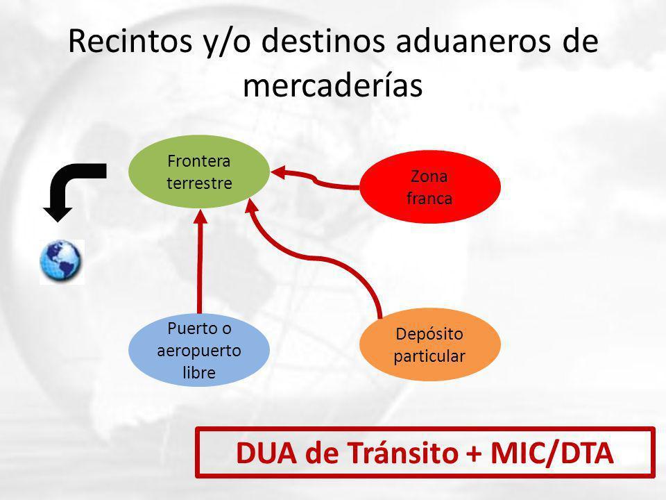 Recintos y/o destinos aduaneros de mercaderías Frontera terrestre Puerto o aeropuerto libre Zona franca Depósito particular DUA de Tránsito + MIC/DTA