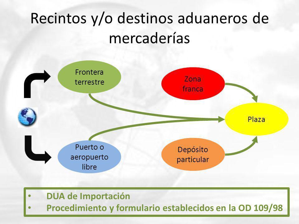 Recintos y/o destinos aduaneros de mercaderías Frontera terrestre Puerto o aeropuerto libre Zona franca Depósito particular Plaza DUA de Importación P