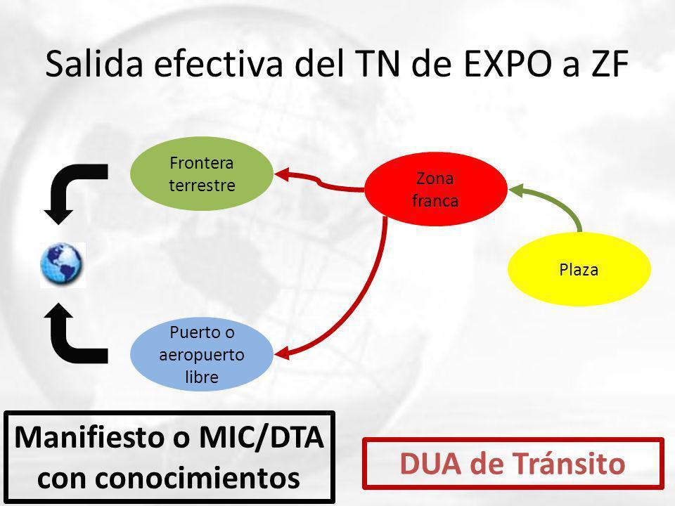 Salida efectiva del TN de EXPO a ZF Frontera terrestre Puerto o aeropuerto libre Zona franca Plaza DUA de Tránsito Manifiesto o MIC/DTA con conocimien
