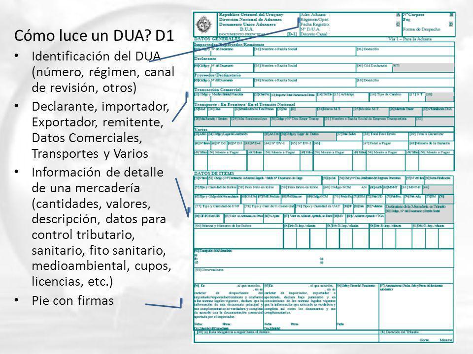Cómo luce un DUA? D1 Identificación del DUA (número, régimen, canal de revisión, otros) Declarante, importador, Exportador, remitente, Datos Comercial