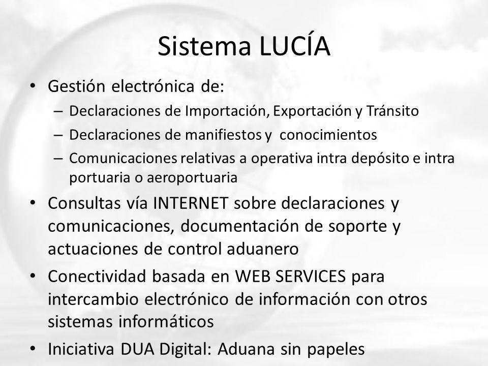 Sistema LUCÍA Gestión electrónica de: – Declaraciones de Importación, Exportación y Tránsito – Declaraciones de manifiestos y conocimientos – Comunica