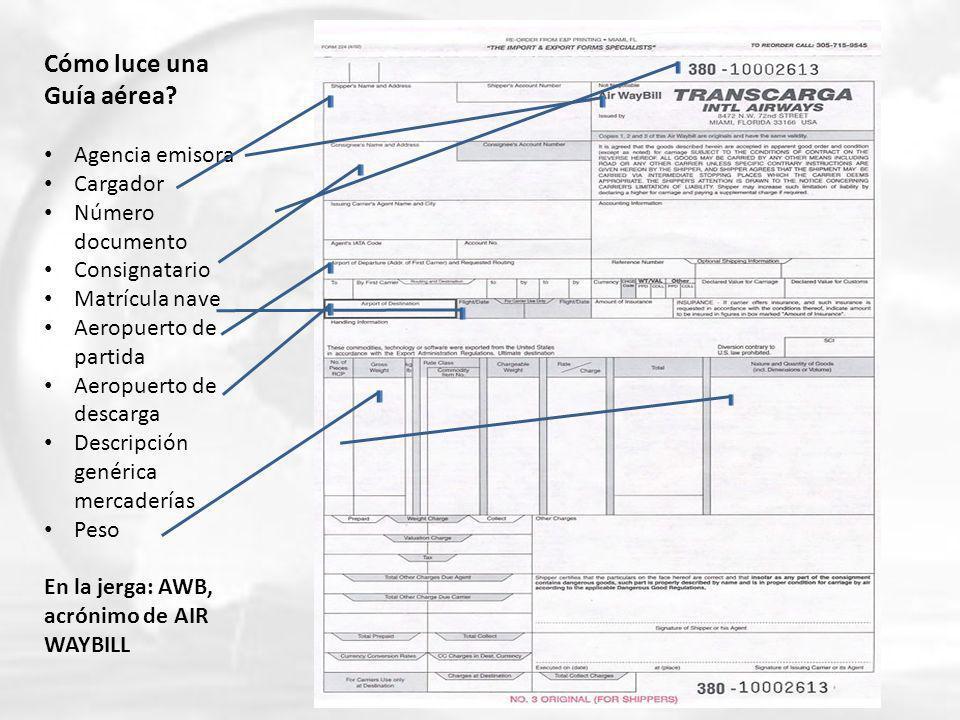 Cómo luce una Guía aérea? Agencia emisora Cargador Número documento Consignatario Matrícula nave Aeropuerto de partida Aeropuerto de descarga Descripc