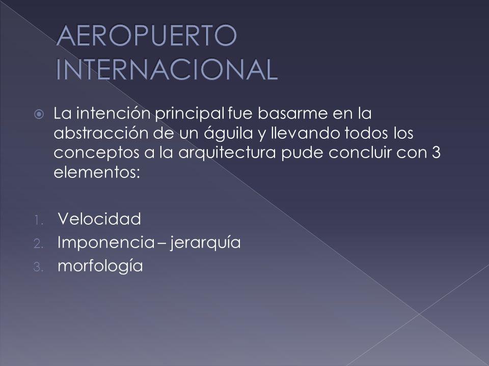 Aeropuerto internacional 1. velocidad 2. imponencia – jerarquía 3. morfología