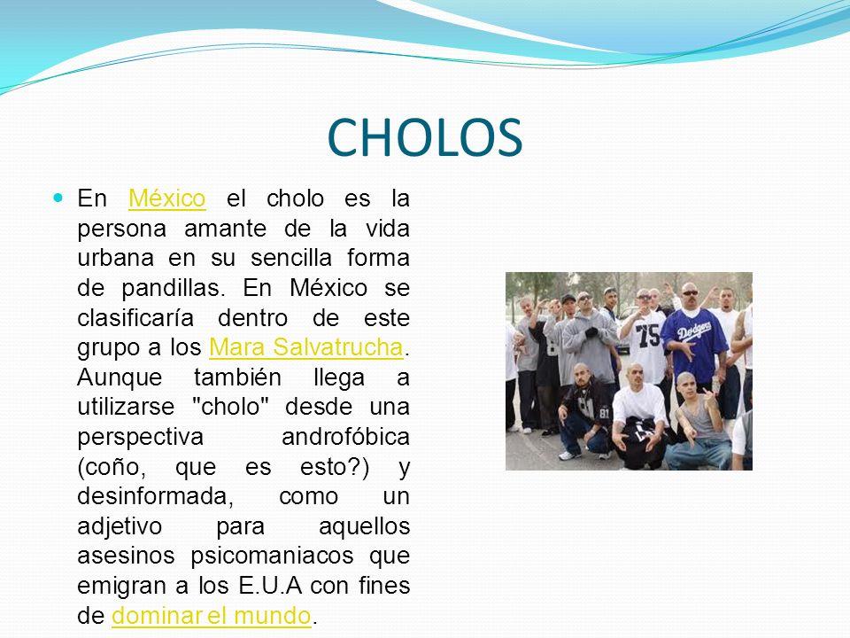 CHOLOS En México el cholo es la persona amante de la vida urbana en su sencilla forma de pandillas. En México se clasificaría dentro de este grupo a l