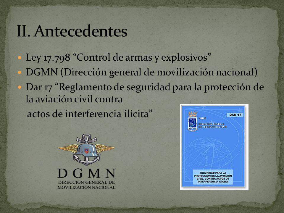 Ley 17.798 Control de armas y explosivos DGMN (Dirección general de movilización nacional) Dar 17 Reglamento de seguridad para la protección de la aviación civil contra actos de interferencia ilícita