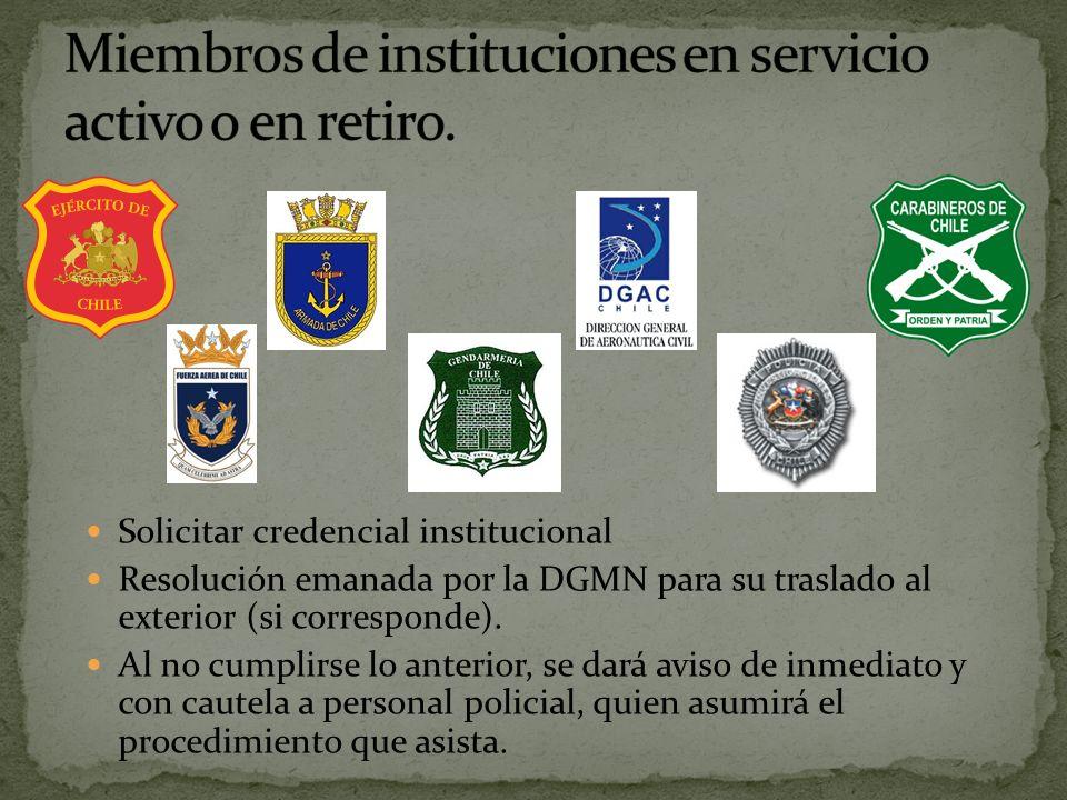 Solicitar credencial institucional Resolución emanada por la DGMN para su traslado al exterior (si corresponde).