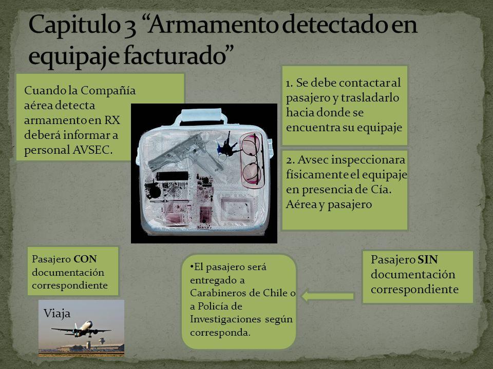Cuando la Compañía aérea detecta armamento en RX deberá informar a personal AVSEC.
