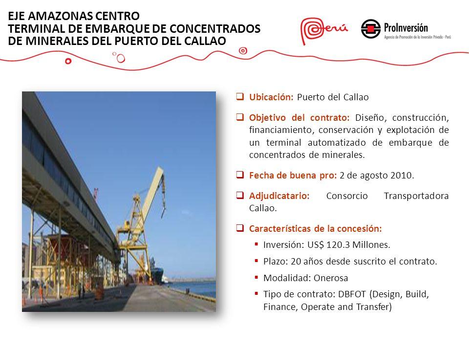 EJE AMAZONAS CENTRO TERMINAL DE EMBARQUE DE CONCENTRADOS DE MINERALES DEL PUERTO DEL CALLAO Ubicación: Puerto del Callao Objetivo del contrato: Diseño
