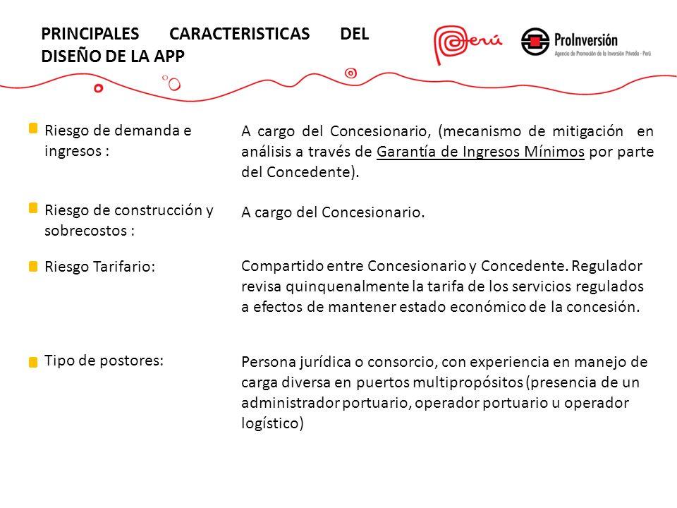 PRINCIPALES CARACTERISTICAS DEL DISEÑO DE LA APP Riesgo de demanda e ingresos : A cargo del Concesionario, (mecanismo de mitigación en análisis a trav
