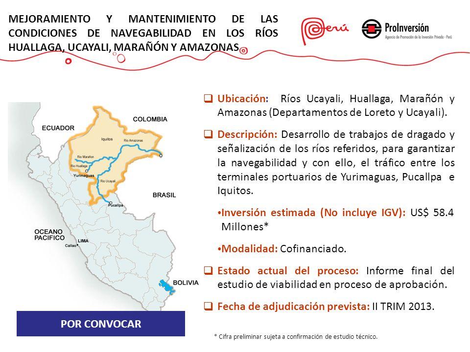 POR CONVOCAR Ubicación: Ríos Ucayali, Huallaga, Marañón y Amazonas (Departamentos de Loreto y Ucayali). Descripción: Desarrollo de trabajos de dragado