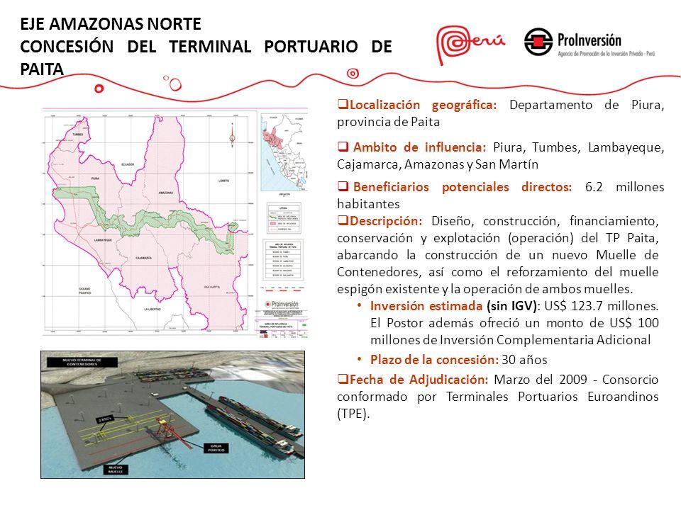 Descripción: Diseño, construcción, financiamiento, conservación y explotación (operación) del TP Paita, abarcando la construcción de un nuevo Muelle d