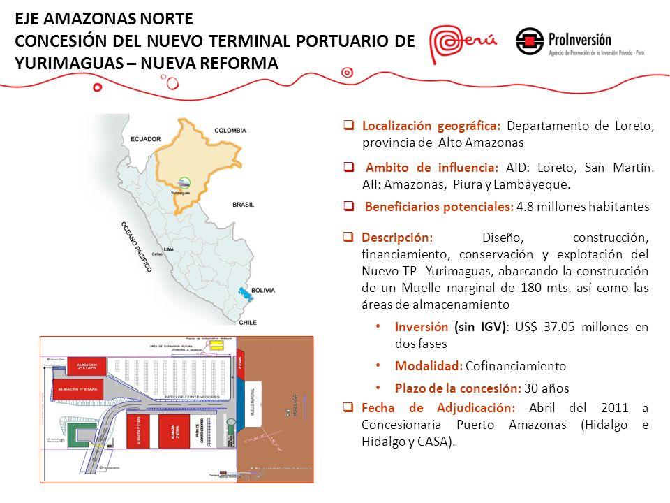 Descripción: Diseño, construcción, financiamiento, conservación y explotación del Nuevo TP Yurimaguas, abarcando la construcción de un Muelle marginal