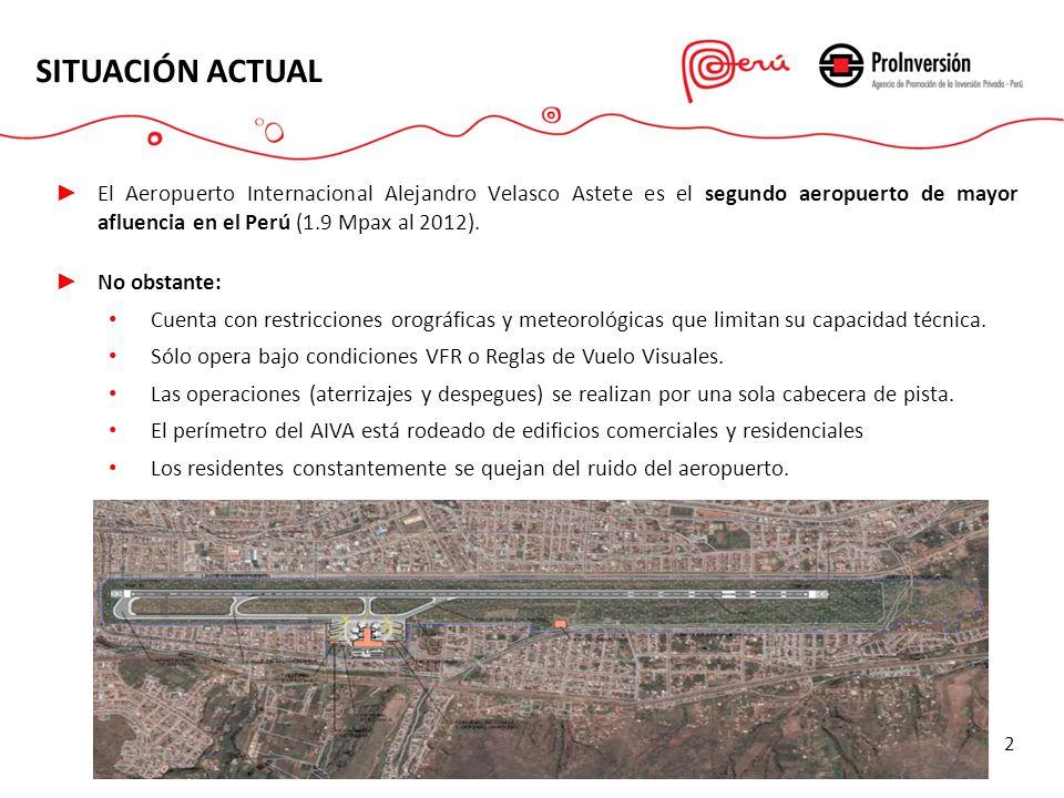 SITUACIÓN ACTUAL 2 El Aeropuerto Internacional Alejandro Velasco Astete es el segundo aeropuerto de mayor afluencia en el Perú (1.9 Mpax al 2012). No