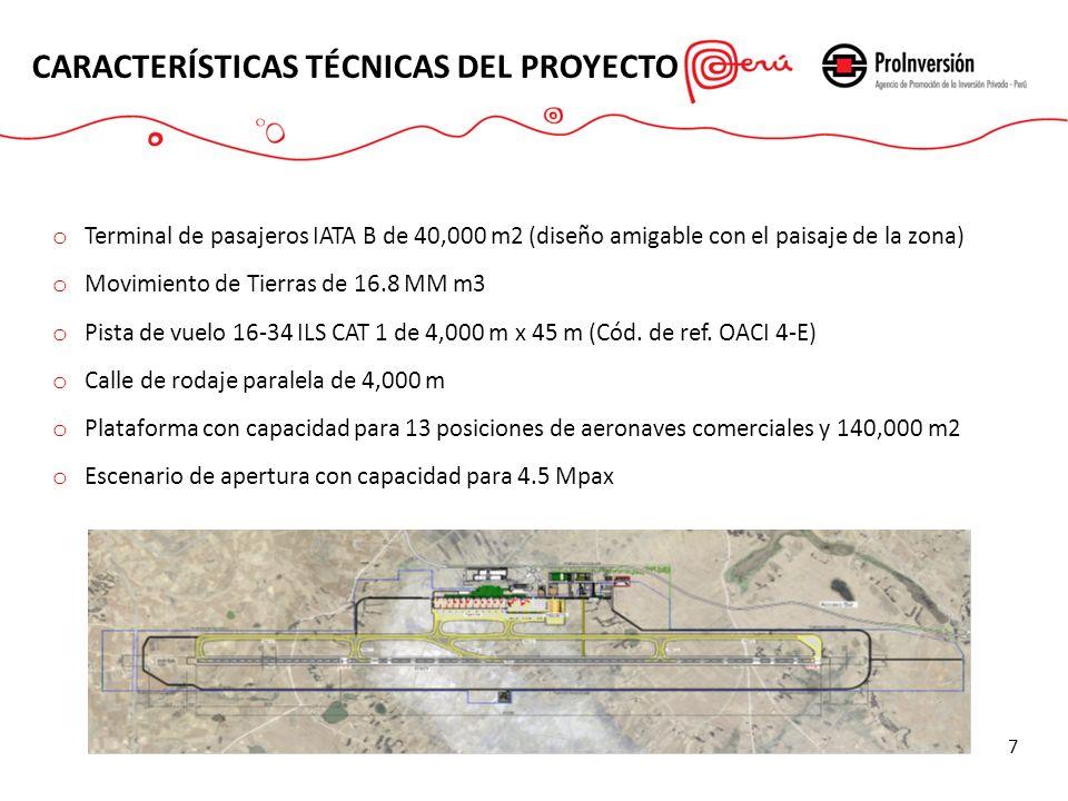 o Terminal de pasajeros IATA B de 40,000 m2 (diseño amigable con el paisaje de la zona) o Movimiento de Tierras de 16.8 MM m3 o Pista de vuelo 16-34 I