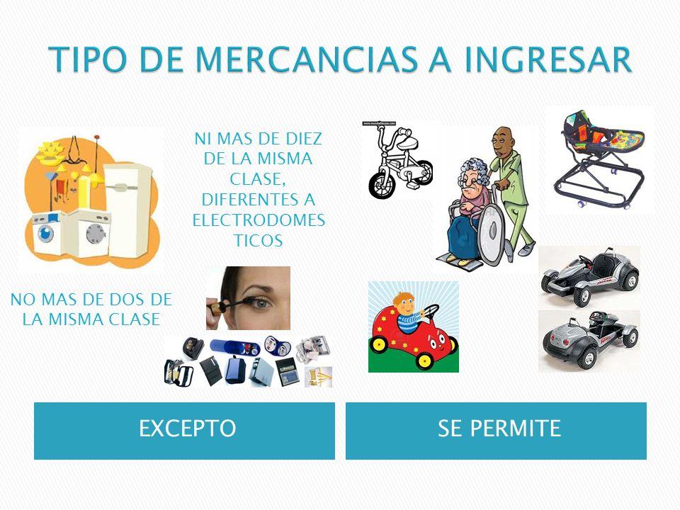EXCEPTOSE PERMITE NO MAS DE DOS DE LA MISMA CLASE NI MAS DE DIEZ DE LA MISMA CLASE, DIFERENTES A ELECTRODOMES TICOS