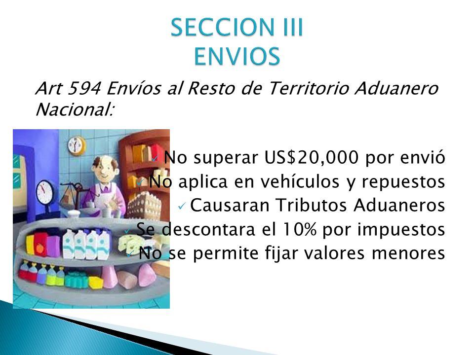 Art 594 Envíos al Resto de Territorio Aduanero Nacional: No superar US$20,000 por envió No aplica en vehículos y repuestos Causaran Tributos Aduaneros
