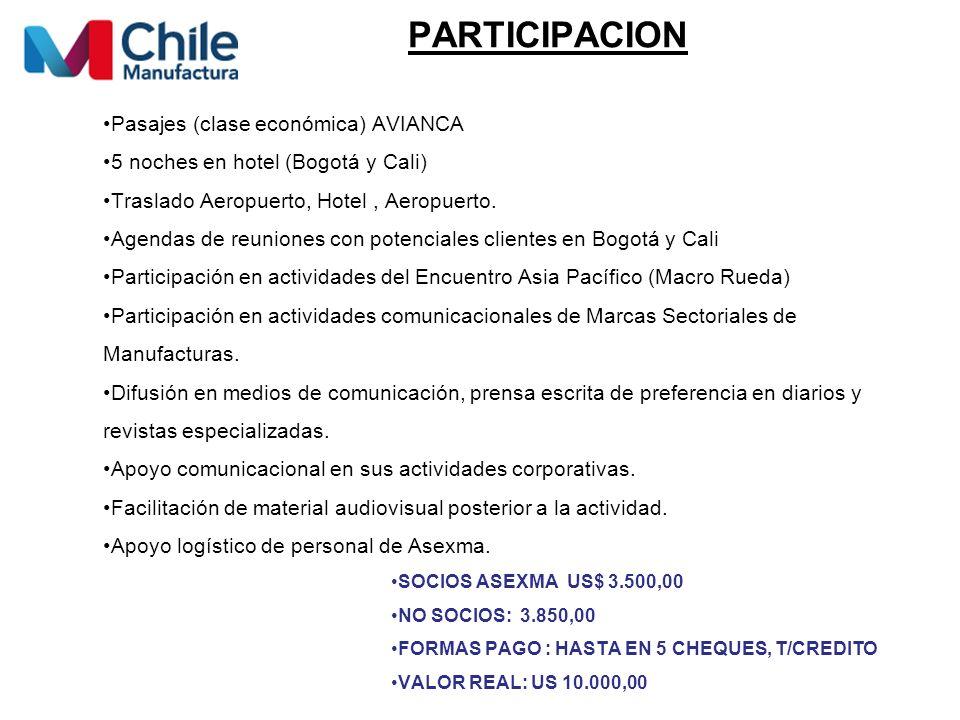 PARTICIPACION Pasajes (clase económica) AVIANCA 5 noches en hotel (Bogotá y Cali) Traslado Aeropuerto, Hotel, Aeropuerto.