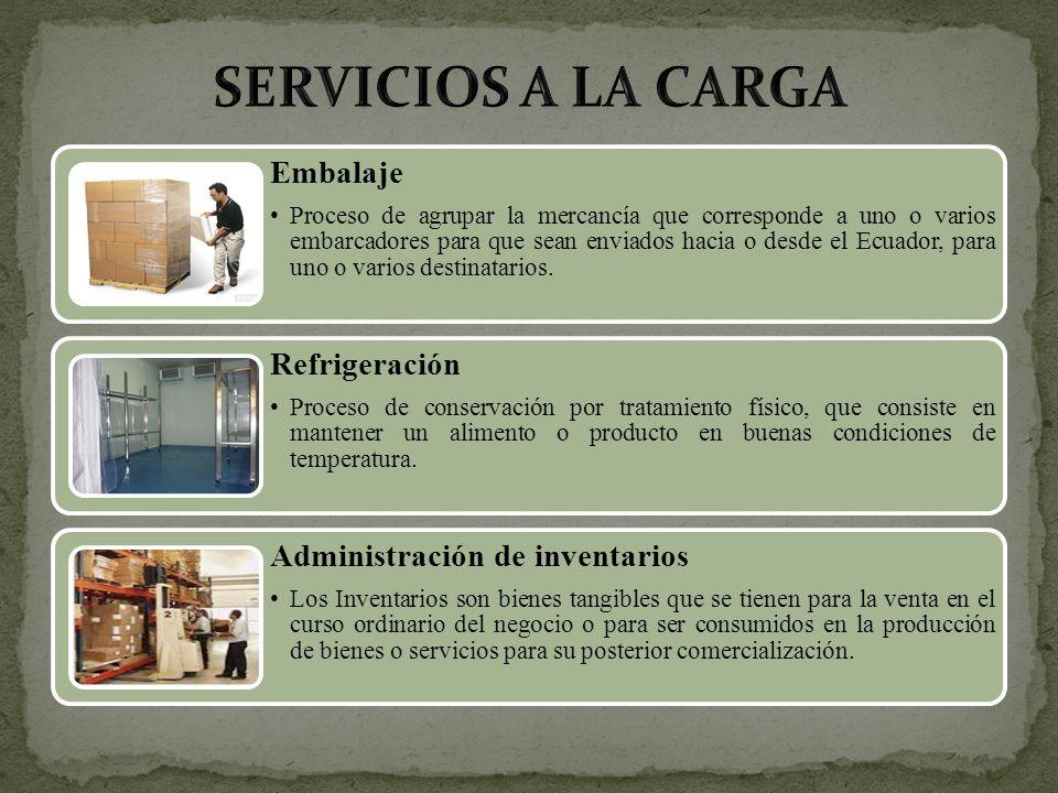 Embalaje Proceso de agrupar la mercancía que corresponde a uno o varios embarcadores para que sean enviados hacia o desde el Ecuador, para uno o vario