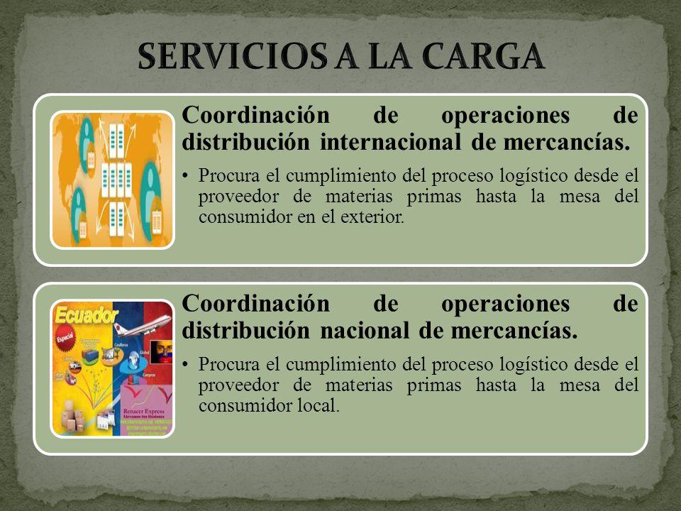 Coordinación de operaciones de distribución internacional de mercancías. Procura el cumplimiento del proceso logístico desde el proveedor de materias