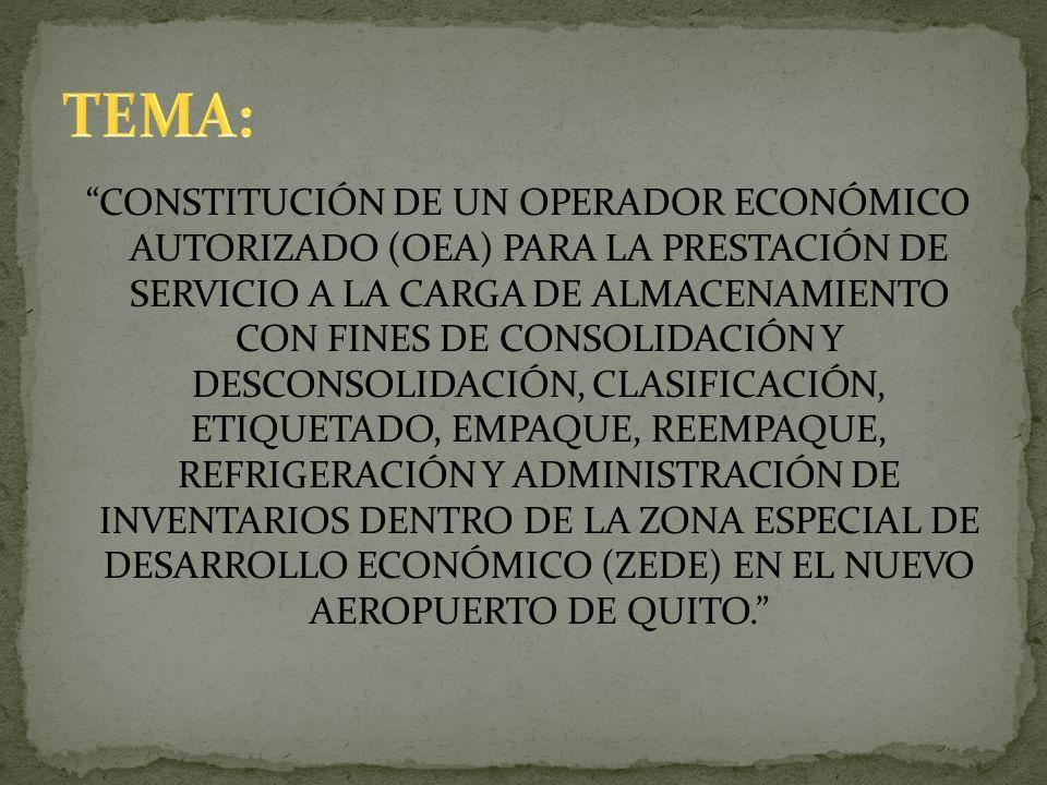 CONSTITUCIÓN DE UN OPERADOR ECONÓMICO AUTORIZADO (OEA) PARA LA PRESTACIÓN DE SERVICIO A LA CARGA DE ALMACENAMIENTO CON FINES DE CONSOLIDACIÓN Y DESCON