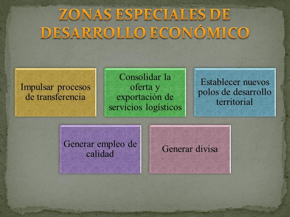 Impulsar procesos de transferencia Consolidar la oferta y exportación de servicios logísticos Establecer nuevos polos de desarrollo territorial Genera