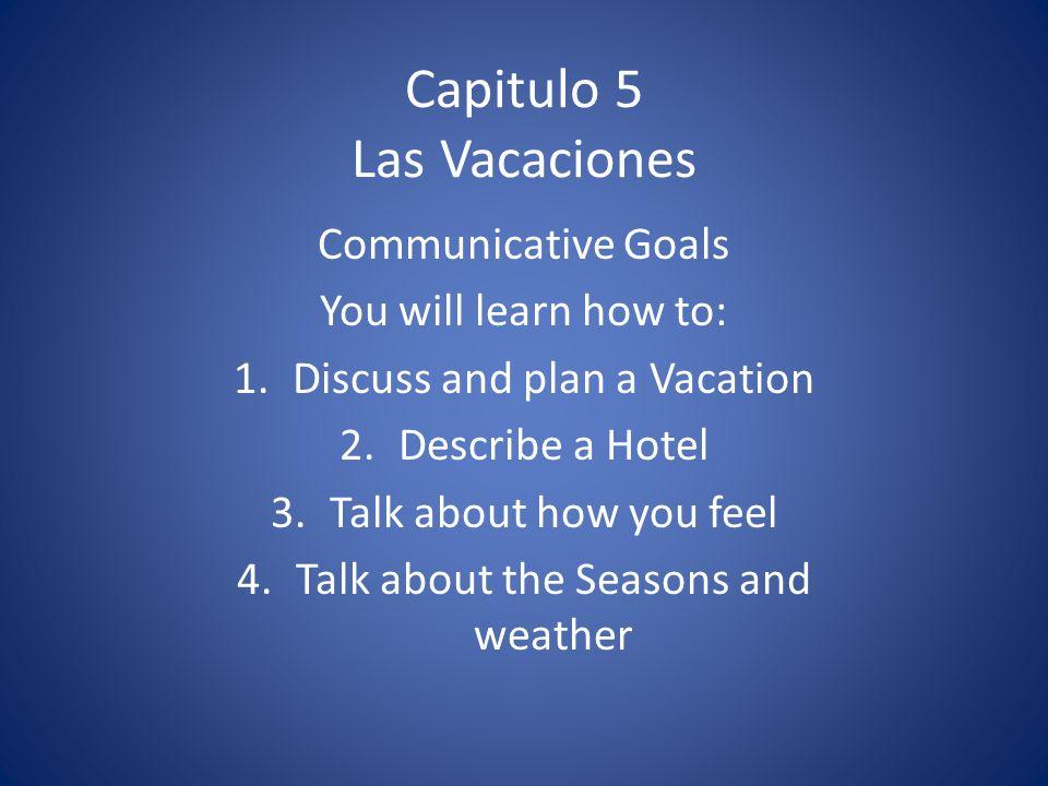 Vocabulario 5 Los Viajes y Las Vacaciones