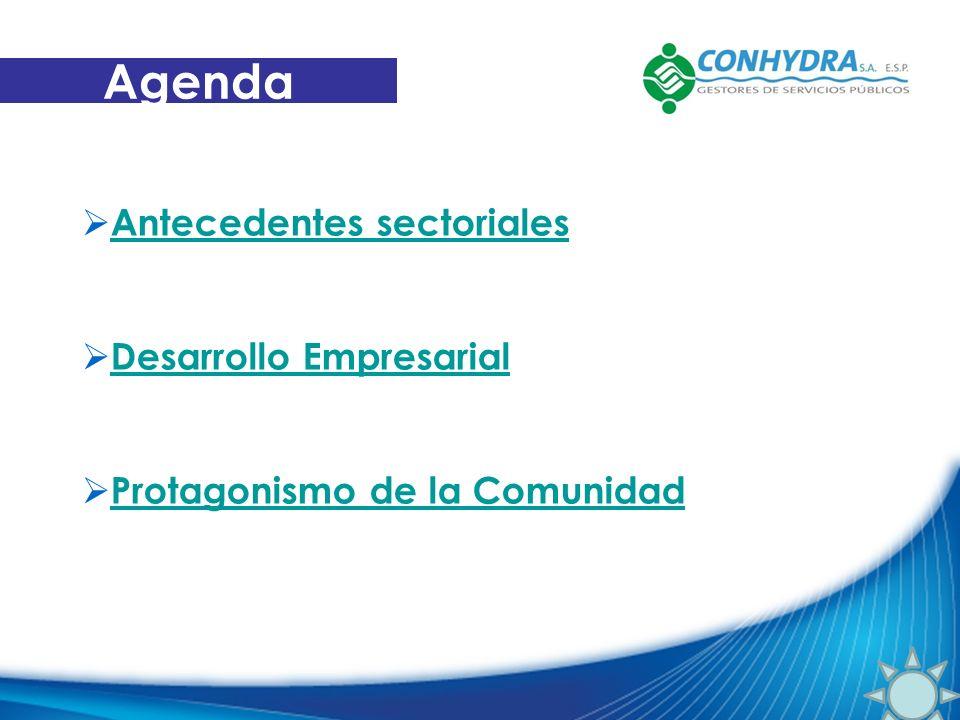 Antecedentes sectoriales Desarrollo Empresarial Protagonismo de la Comunidad Agenda