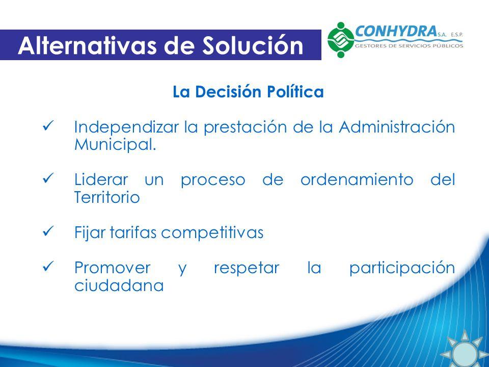 La Decisión Política Independizar la prestación de la Administración Municipal. Liderar un proceso de ordenamiento del Territorio Fijar tarifas compet