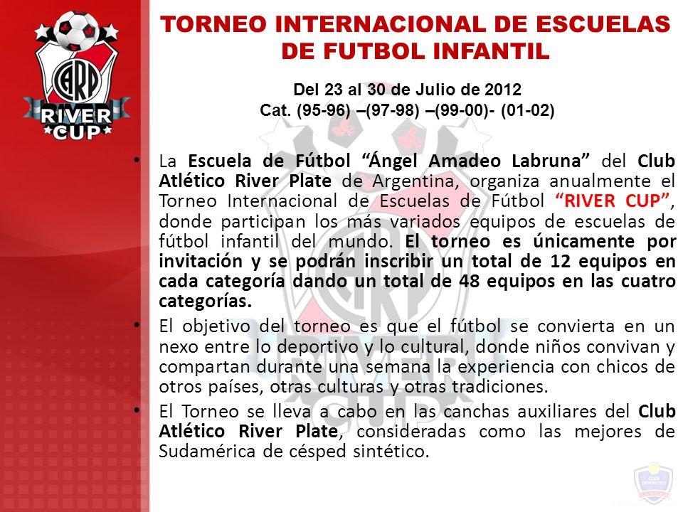 TORNEO INTERNACIONAL DE ESCUELAS DE FUTBOL INFANTIL Del 23 al 30 de Julio de 2012 Cat. (95-96) –(97-98) –(99-00)- (01-02) La Escuela de Fútbol Ángel A