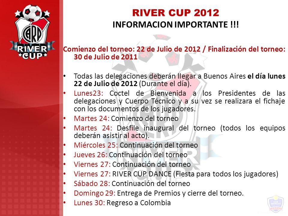 RIVER CUP 2012 INFORMACION IMPORTANTE !!! Comienzo del torneo: 22 de Julio de 2012 / Finalización del torneo: 30 de Julio de 2011 Todas las delegacion