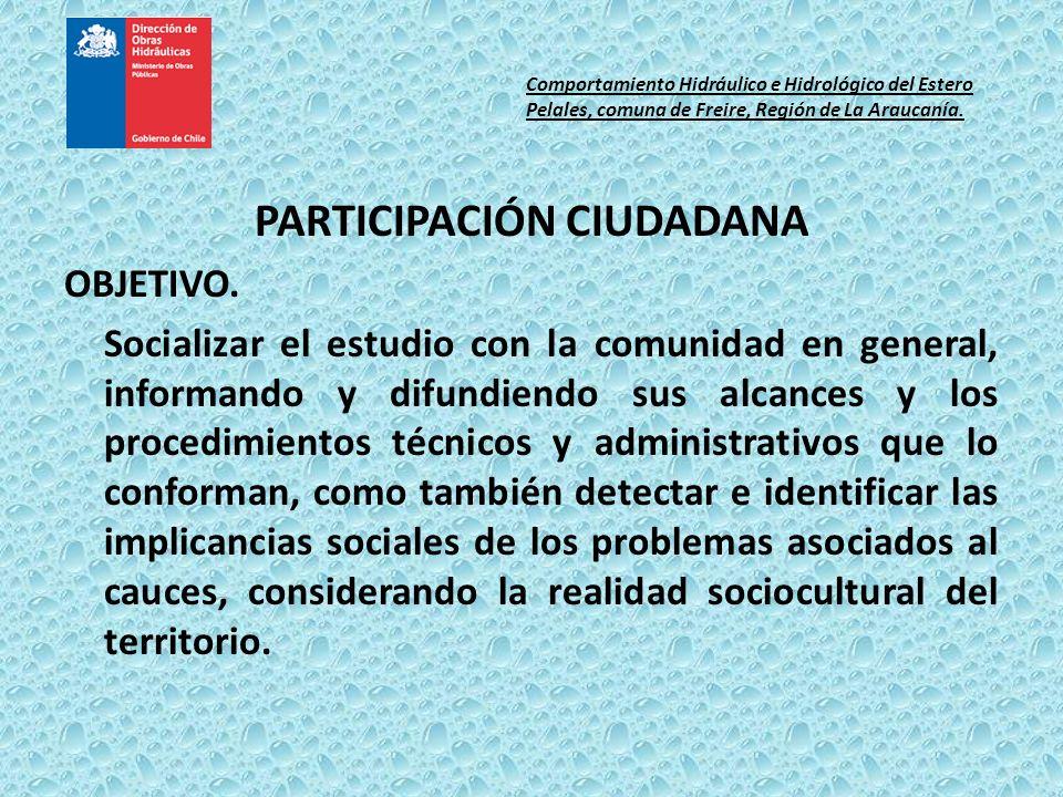 PARTICIPACIÓN CIUDADANA OBJETIVO. Socializar el estudio con la comunidad en general, informando y difundiendo sus alcances y los procedimientos técnic
