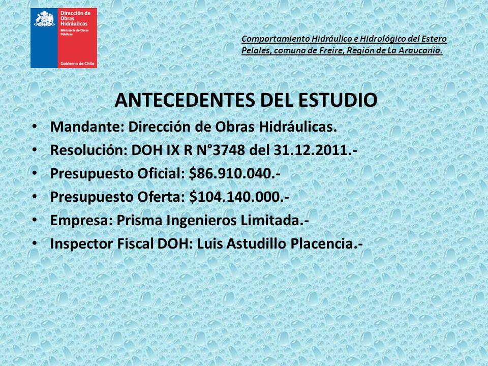 ANTECEDENTES DEL ESTUDIO Mandante: Dirección de Obras Hidráulicas. Resolución: DOH IX R N°3748 del 31.12.2011.- Presupuesto Oficial: $86.910.040.- Pre