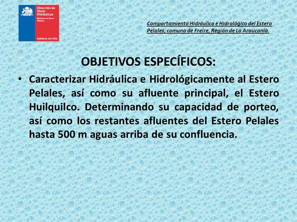 OBJETIVOS ESPECÍFICOS: Caracterizar Hidráulica e Hidrológicamente al Estero Pelales, así como su afluente principal, el Estero Huilquilco. Determinand