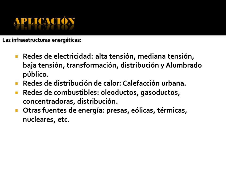 Redes de electricidad: alta tensión, mediana tensión, baja tensión, transformación, distribución y Alumbrado público. Redes de distribución de calor: