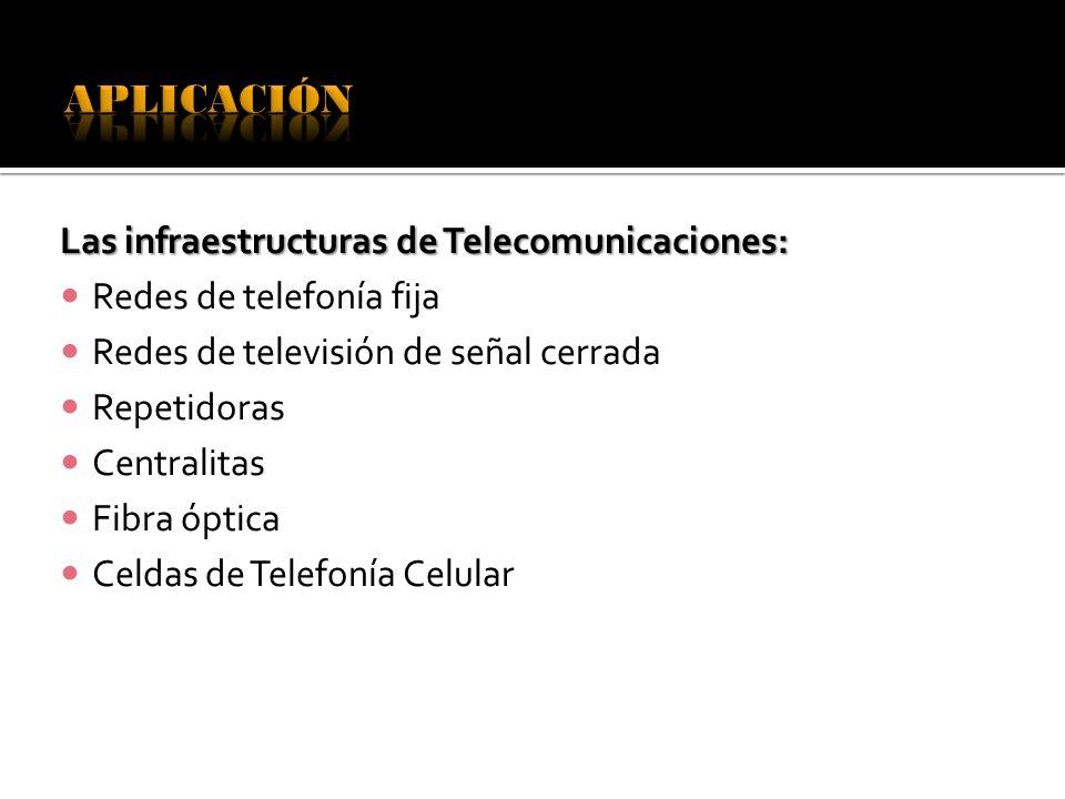 Las infraestructuras de Telecomunicaciones: Redes de telefonía fija Redes de televisión de señal cerrada Repetidoras Centralitas Fibra óptica Celdas d
