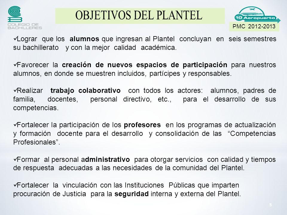 Lograr que los alumnos que ingresan al Plantel concluyan en seis semestres su bachillerato y con la mejor calidad académica.