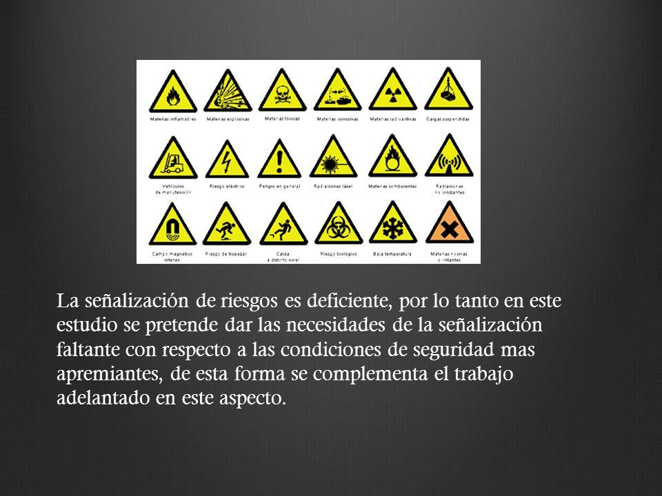 La señalización de riesgos es deficiente, por lo tanto en este estudio se pretende dar las necesidades de la señalización faltante con respecto a las