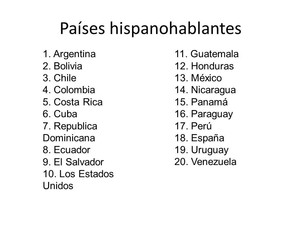 Países hispanohablantes 1. Argentina 2. Bolivia 3. Chile 4. Colombia 5. Costa Rica 6. Cuba 7. Republica Dominicana 8. Ecuador 9. El Salvador 10. Los E