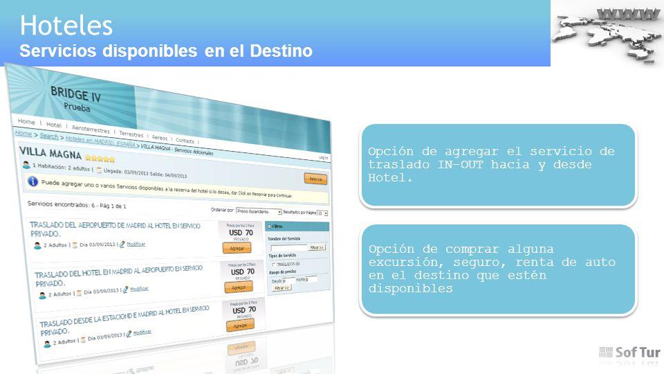 Hoteles Servicios disponibles en el Destino Ejemplo.