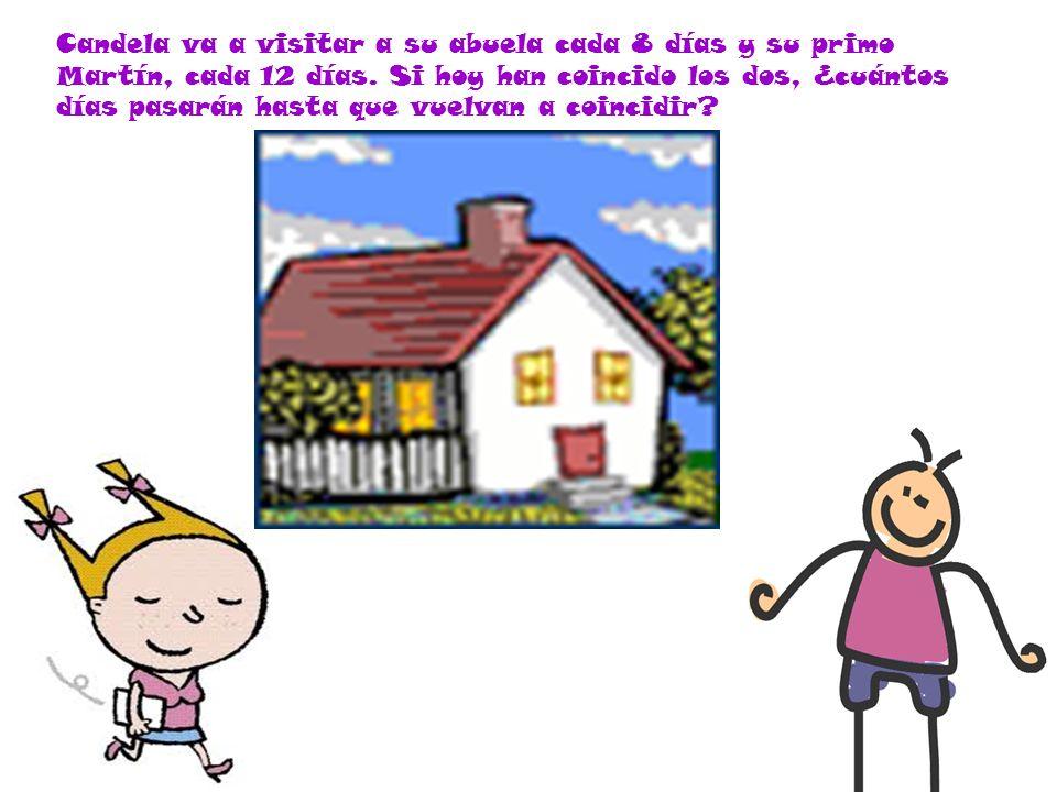 Candela va a visitar a su abuela cada 8 días y su primo Martín, cada 12 días. Si hoy han coincido los dos, ¿cuántos días pasarán hasta que vuelvan a c