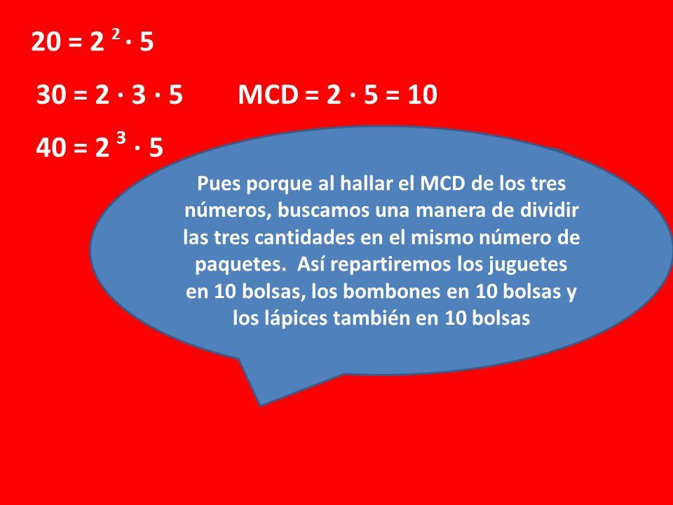 20 = 2 2 · 5 30 = 2 · 3 · 5 40 = 2 3 · 5 MCD = 2 · 5 = 10 ¿Por qué calculamos el MCD? ¿Qué significa ese 10? Pues porque al hallar el MCD de los tres