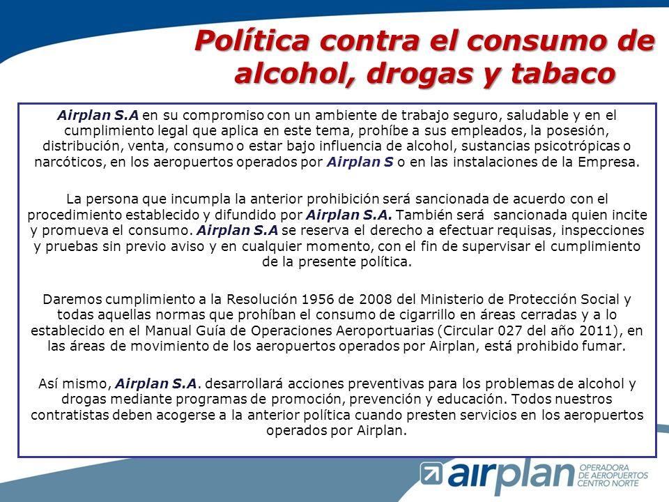 Políticas de los Sistemas de Gestión En Airplan, coherente con nuestra filosofía y propósito en la administración, operación, mantenimiento, modernización y explotación comercial aeroportuaria trabajamos bajo los lineamientos determinados por los siguientes sistemas de gestión de: calidad, bajo la norma NTC – ISO 9001:2008; comunicaciones; servicio al cliente; seguridad aeroportuaria, bajo la norma NTC - ISO28000; seguridad operacional, bajo la norma RAC 22; competencias; riesgos, bajo la norma NTC ISO 31000:2011; seguridad y salud ocupacional, bajo la norma NTC OHSAS 18001:2007 y ambiental, bajo la norma NTC ISO 14001:2004, y nos comprometemos a cumplir con los requisitos legales aplicables y con otros requisitos que Airplan suscriba, a involucrar en los sistemas de gestión a las partes interesadas y a garantizar los recursos necesarios para su implementación y mantenimiento, con el fin de: