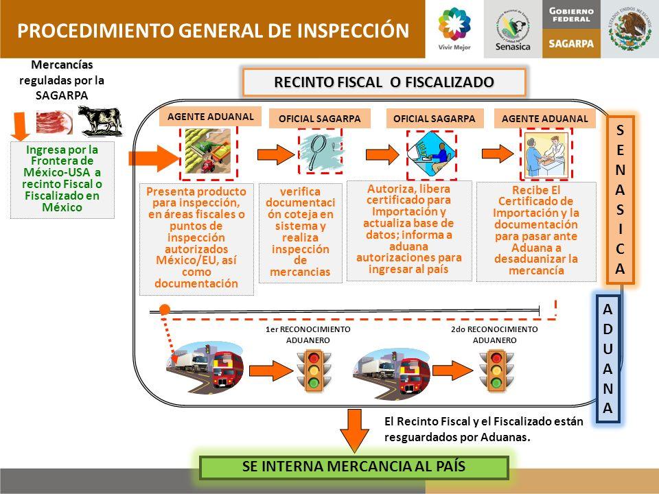 Ingresa por la Frontera de México-USA a recinto Fiscal o Fiscalizado en México Mercancías reguladas por la SAGARPA verifica documentaci ón coteja en s