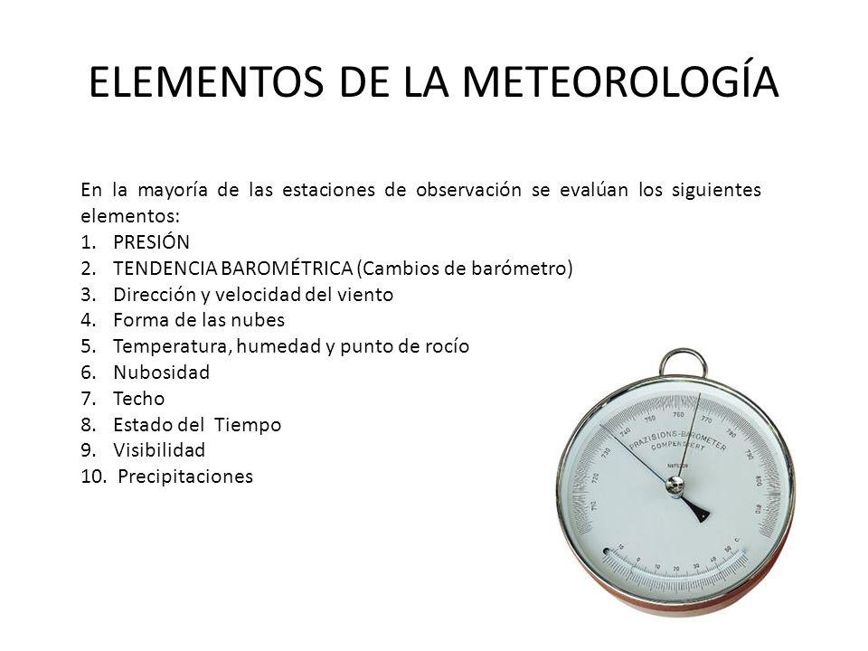 ELEMENTOS DE LA METEOROLOGÍA En la mayoría de las estaciones de observación se evalúan los siguientes elementos: 1.PRESIÓN 2.TENDENCIA BAROMÉTRICA (Cambios de barómetro) 3.Dirección y velocidad del viento 4.Forma de las nubes 5.Temperatura, humedad y punto de rocío 6.Nubosidad 7.Techo 8.Estado del Tiempo 9.Visibilidad 10.