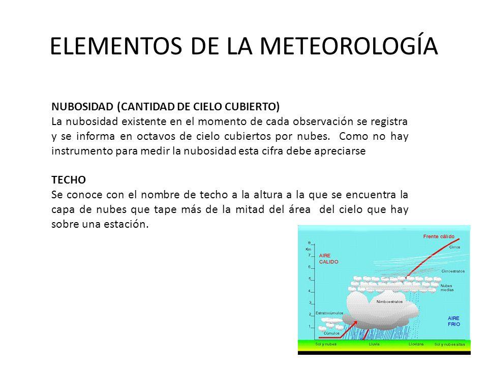 ELEMENTOS DE LA METEOROLOGÍA NUBOSIDAD (CANTIDAD DE CIELO CUBIERTO) La nubosidad existente en el momento de cada observación se registra y se informa en octavos de cielo cubiertos por nubes.