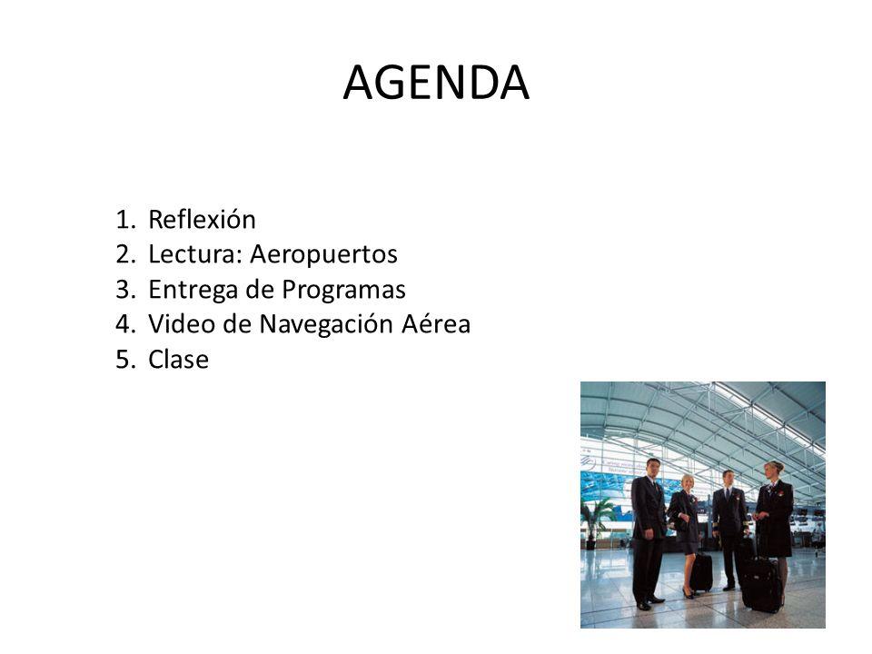 AGENDA 1.Reflexión 2.Lectura: Aeropuertos 3.Entrega de Programas 4.Video de Navegación Aérea 5.Clase