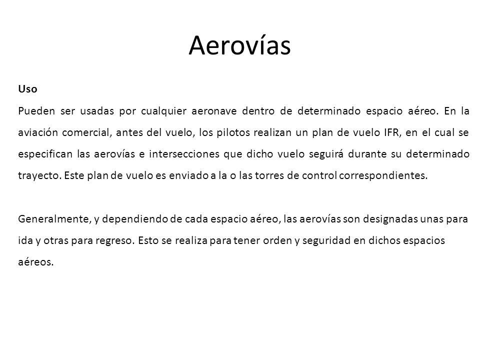 Aerovías Uso Pueden ser usadas por cualquier aeronave dentro de determinado espacio aéreo. En la aviación comercial, antes del vuelo, los pilotos real