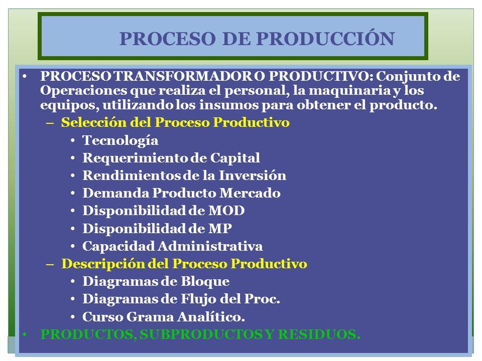 PROCESO DE PRODUCCIÓN PROCESO TRANSFORMADOR O PRODUCTIVO: Conjunto de Operaciones que realiza el personal, la maquinaria y los equipos, utilizando los
