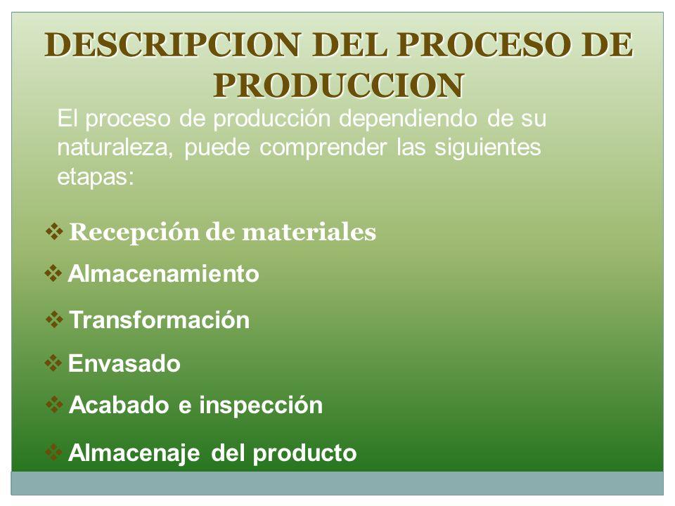 DESCRIPCION DEL PROCESO DE PRODUCCION Recepción de materiales Almacenamiento Transformación Envasado Acabado e inspección Almacenaje del producto El p