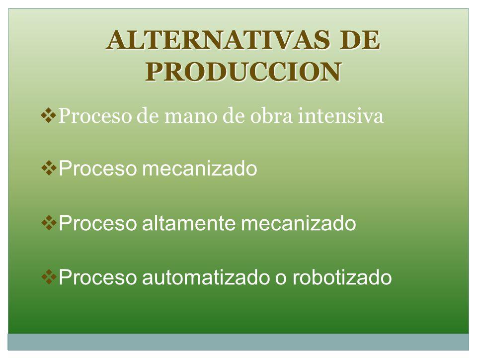 ALTERNATIVAS DE PRODUCCION Proceso de mano de obra intensiva Proceso mecanizado Proceso altamente mecanizado Proceso automatizado o robotizado